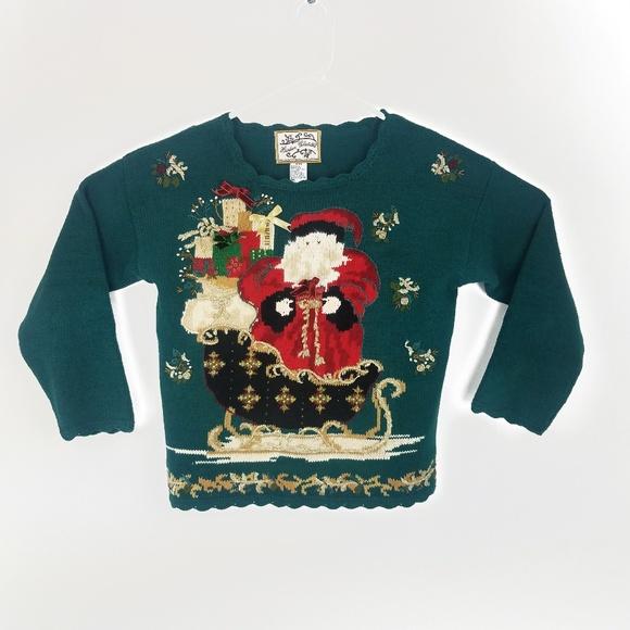Vintage Ugly Christmas Sweater Santa Long Sleeve